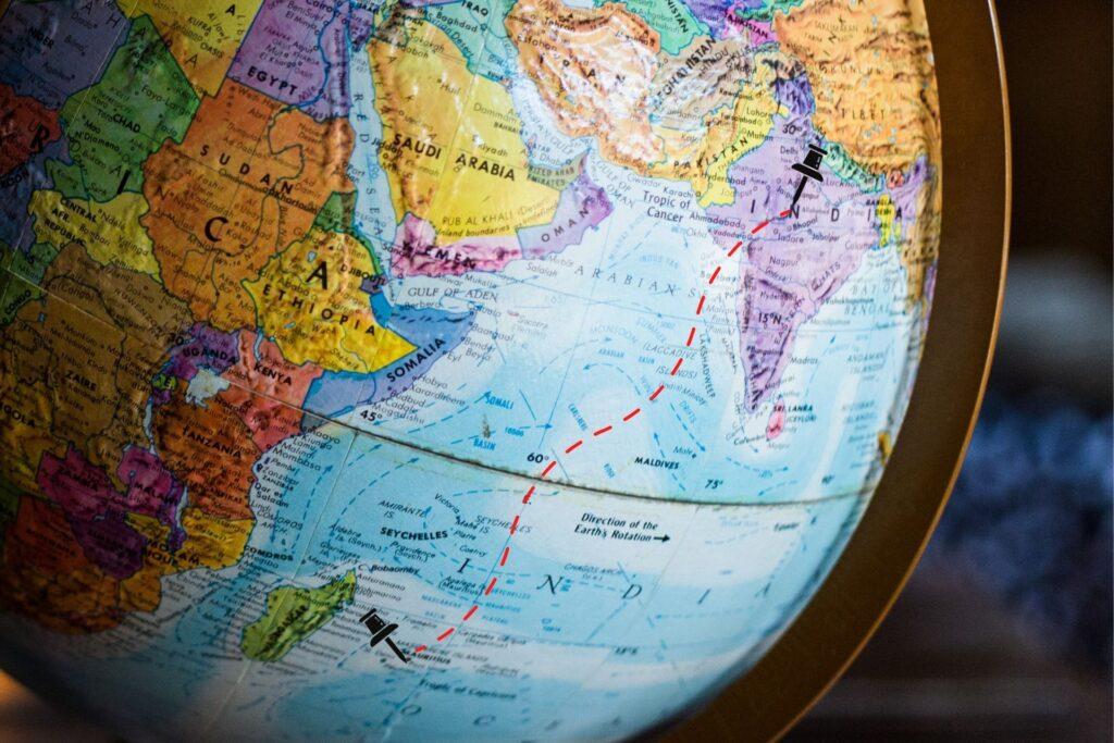 India to Mauritius Map